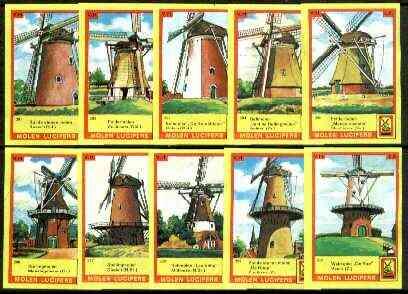Match Box Labels - Windmills series #30 (nos 291-300) very fine unused condition (Molem Lucifers)