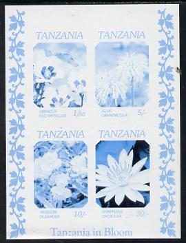 Tanzania 1986 Flowers unmounted mint imperf colour proof of m/sheet in blue & black only (SG MS 478)