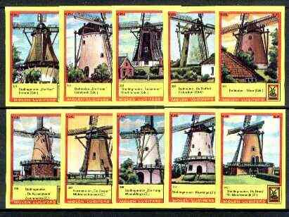 Match Box Labels - Windmills series #34 (nos 331-340) very fine unused condition (Molem Lucifers)