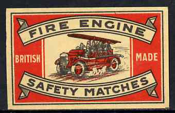 Match Box Label - Fire Engine, superb unused condition (J Masters made in 1923)