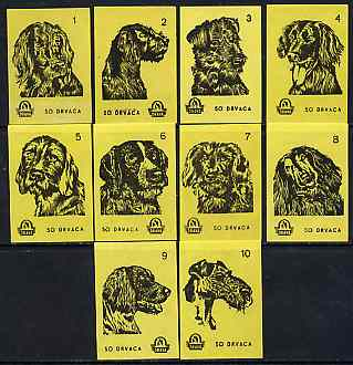 Match Box Labels - complete set of 10 Dogs (set #2 yellow background) very fine unused condition (Yugoslavian Drava series)