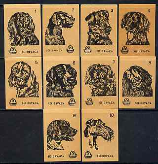 Match Box Labels - complete set of 10 Dogs (set #4 buff background) very fine unused condition (Yugoslavian Drava series)