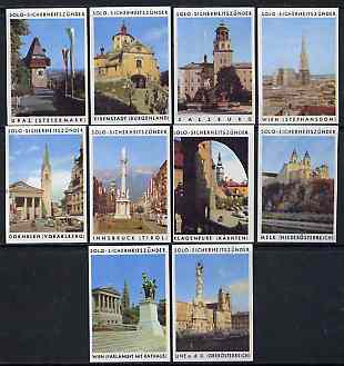 Match Box Labels - complete set of 10 Ancient Buildings superb unused condition (Austrian Solo series)