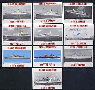 Match Box Labels - complete set of 10 Ships (Liners) superb unused condition (Gerka series)