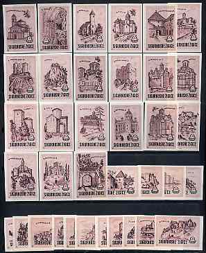 Match Box Labels - complete set of 36 Castles (pink) superb unused condition (Yugoslavian Drava series)