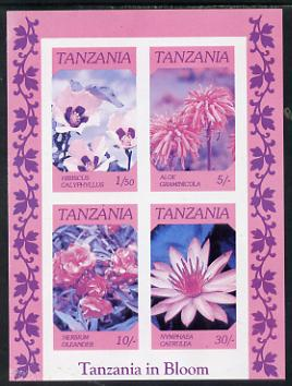 Tanzania 1986 Flowers unmounted mint imperf colour proof of m/sheet in blue, magenta & black only (SG MS 478)
