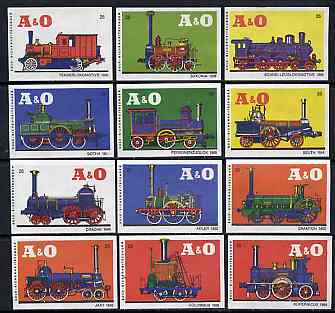 Match Box Labels - complete set of 12 Locomotives superb unused condition (Austrian A & O series)