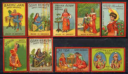 Match Box Labels - complete set of 9 Indian Tea Ladies superb unused condition (Swedish), stamps on drink, stamps on  tea , stamps on drinks, stamps on women