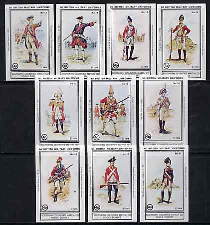 Match Box Labels - British Military Uniforms (Nos 11-20 from set of 60) very fine unused condition (Southern Counties Match Co)