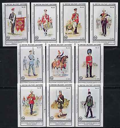 Match Box Labels - British Military Uniforms (Nos 41-50 from set of 60) very fine unused condition (Southern Counties Match Co)