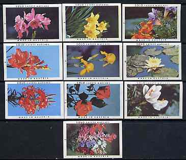 Match Box Labels - complete set of 10 Flowers superb unused condition (Austrian Solo series)