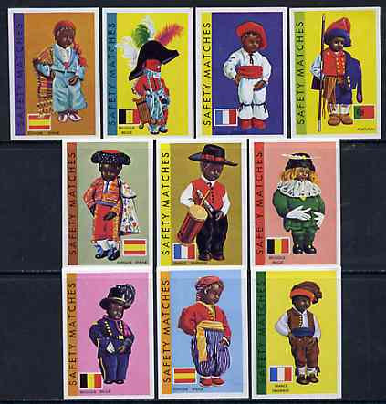 Match Box Labels - complete set of 10 Costumes of the World superb unused condition (Belgian)