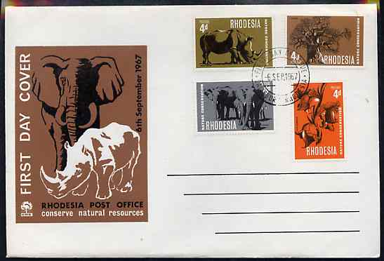 Rhodesia 1967 Nature Conservation set of 4 on Official unaddressed cover with first day cancel, SG 418-21