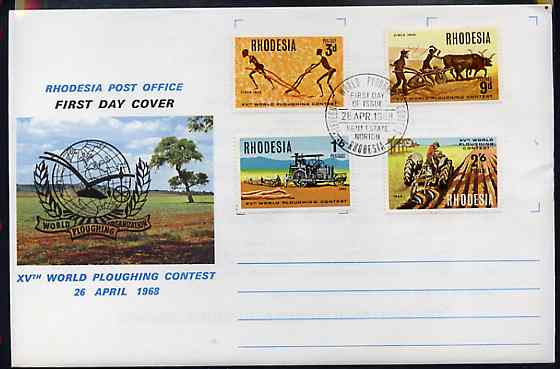 Rhodesia 1968 15th World Ploughing contest set of 4 on Official illustrated unaddressed cover with first day cancel SG 422-25