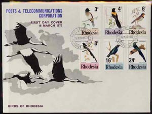 Rhodesia 1977 Birds 2nd series perf set  of 6 on Official illustrated unaddressed cover with first day cancel SG 537-42