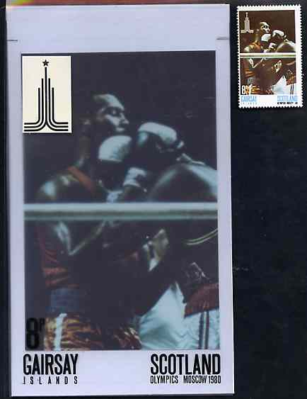 Gairsay 1980 Moscow Olympic Games - Original artwork for 8p value (Boxing) comprising coloured photograph on board of main design (100 mm x 165 mm) with value and inscrip...