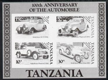 Tanzania 1986 Centenary of Motoring m/sheet unmounted mint imperf colour proof in black only (SG MS 460)