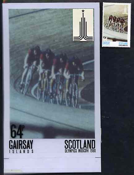 Gairsay 1980 Moscow Olympic Games - Original artwork for 64p value (Cycling) comprising coloured photograph on board of main design (100 mm x 165 mm) with value and inscr...