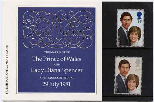 Great Britain 1981 Royal Wedding set of 2 in official presentation pack SG 1160-61