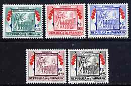 Paraguay 1957 Angel, Soldiers & Flags 5 values from 'Chako Heroes' set unmounted mint, SG 787-91*