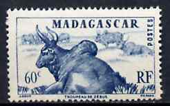 Madagascar 1946 Zebus 60c blue unmounted mint but gum flattened from interleaving, SG 300*