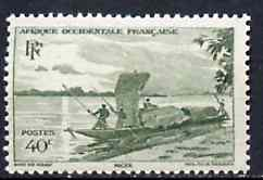 French West Africa 1947 Canoe 40c green unmounted mint but gum flattened from interleaving, SG 36*
