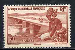 French West Africa 1947 Girl & Bridge 30c brown unmounted mint, SG 35*
