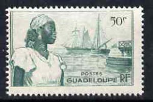 Guadeloupe 1947 Woman & Ships at Port Basse Terre 50c green unmounted mint, SG 213*