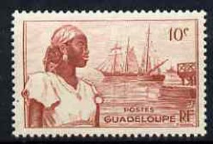 Guadeloupe 1947 Woman & Ships at Port Basse Terre 10c lake unmounted mint, SG 211*