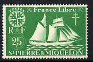 St Pierre & Miquelon 1942 Fishing Schooner 25c green unmounted mint, SG 324*