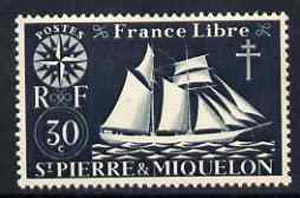 St Pierre & Miquelon 1942 Fishing Schooner 30c black unmounted mint, SG 324*