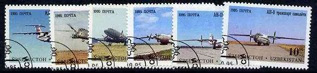 Uzbekistan 1995 Aircraft complete perf set of 6 very fine cds used*