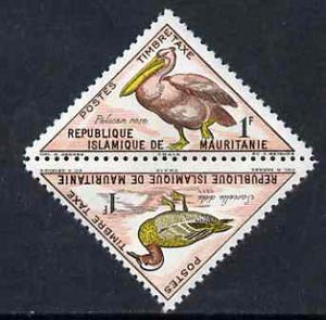 Mauritania 1963 Postage Due - Birds Triangular 1f Pelican se-tenant with 1f Garganey unmounted mint, SG D 179-80