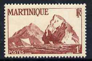 Martinique 1947 Fishing Boats & Rock 1f lake unmounted mint, SG 235*