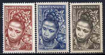 Martinique 1947 Native Woman set of 3 values from def set unmounted mint, SG 231-33*