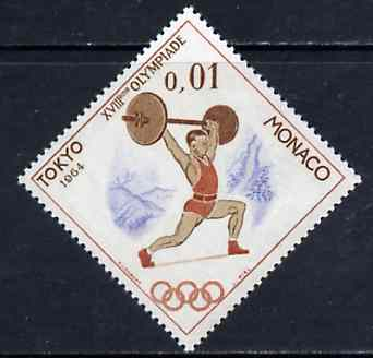 Monaco 1964 Weightlifting 1c unmounted mint from Olympic Games diamond shaped set, SG 808*