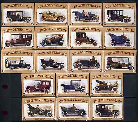Match Box Labels - complete set of 18 Vintage Vehicles (Cars) superb unused condition (Cornish Match Co - average count 52)