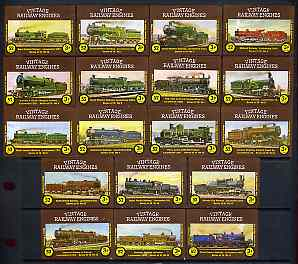 Match Box Labels - complete set of 18 Vintage Railway Engines superb unused condition (Cornish Match Co - 52 matches priced at 3p), stamps on railways
