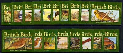 Match Box Labels - complete set of 18 Britsh Birds superb unused condition (Duchy Match Co)
