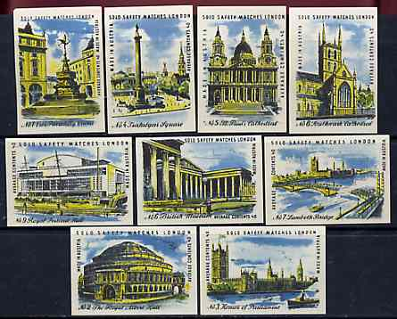 Match Box Labels - complete set of 9 Views of London superb unused condition (Austrian)