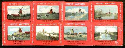 Match Box Labels - complete set of 8 Dutch Windmills superb unused condition (Dutch)