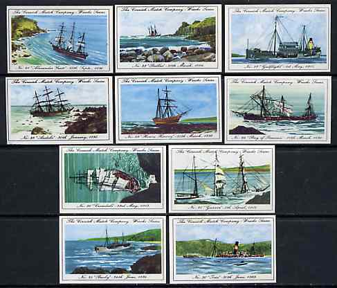 Match Box Labels - 10 Cornish Ship Wrecks (nos 21-30), superb unused condition (Cornish Match Co issued July 1970)