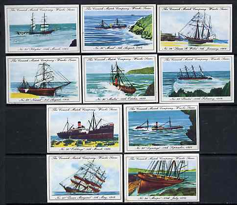 Match Box Labels - 10 Cornish Ship Wrecks (nos 31-40), superb unused condition (Cornish Match Co issued July 1970)