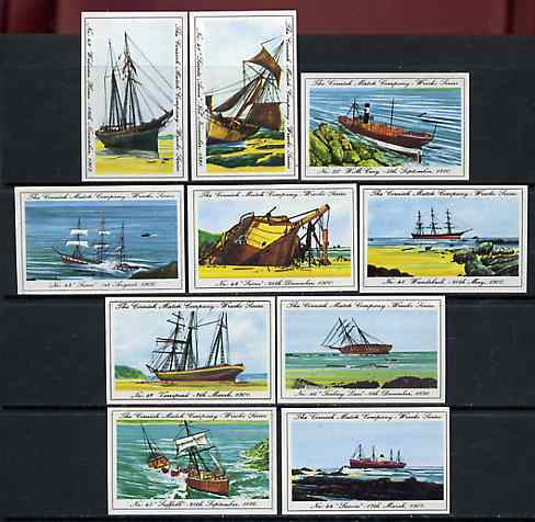 Match Box Labels - 10 Cornish Ship Wrecks (nos 41-50), superb unused condition (Cornish Match Co issued July 1970)
