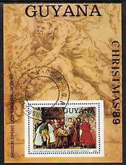 Guyana 1989 Christmas $2.55 (Paintings by Rubens &Tiziano) m/sheet very fine cto used