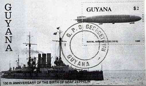Guyana 1988 150th Anniversary of Birth of Graf Zeppelin $2 m/sheet (Battleship & Zeppelin LZ92) very fine cto used