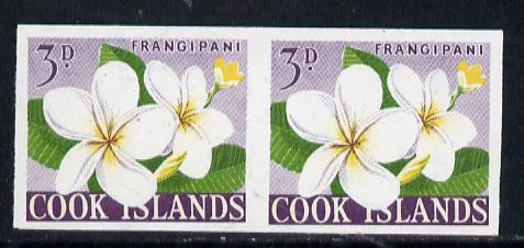 Cook Islands 1963 def 3d Frangipani Flower in unmounted mint imperf pair (as SG 165)