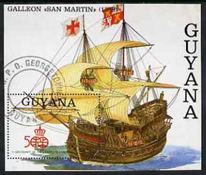 Guyana 1992 500th Anniversary of Discovery of America m/sheet (Santa Maria) very fine cto used