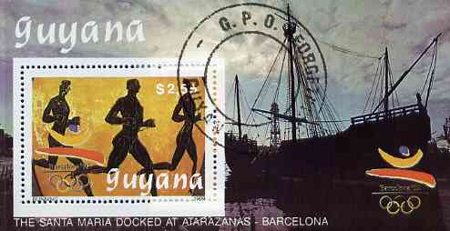 Guyana 1989 Barcelona Olympic Games $2.55 m/sheet (Running - detail of Black-figure Greek Pot & Santa Maria) very fine cto used