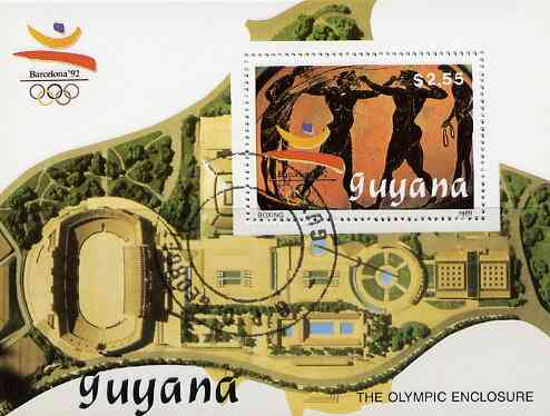 Guyana 1989 Barcelona Olympic Games $2.55 m/sheet (Boxing - detail of Black-figure Greek Pot & Olympic Enclosure) very fine cto used